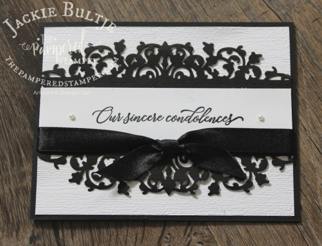 Black and white sympathy card with a classic font