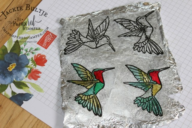Hummingbirds embossed on window sheets and coloured with Blends