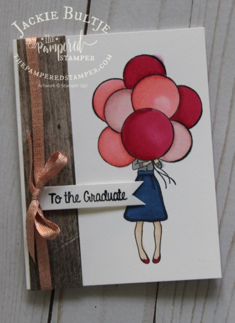 Hand Delivered is great for a bright and fun graduation card. You could also use the stack of books in this set but I wanted cheerful balloons. This host set is only available until May 31.