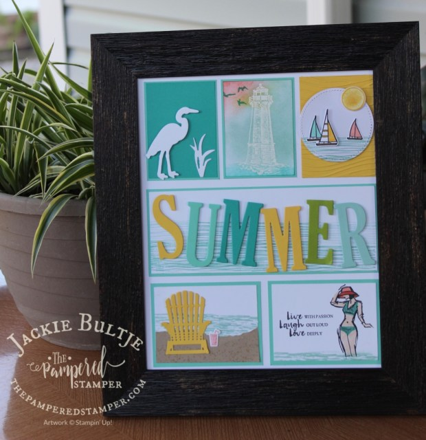 Summer sampler using several different Stampin'Up! stamp sets and framelits.