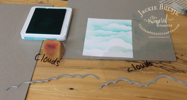 Homemade cloud masks using window sheets and rainbow builder dies- the cloud ones.