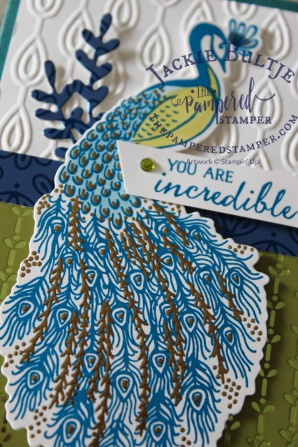 Royal Peacock is a two-step stamp which allows you to emboss this gorgeous detail in gold.