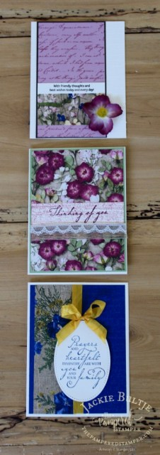 Pressed Petals paper is the star of the show in these three vintage cards.
