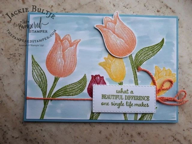 Sally's Card - Never Too Late with Timeless Tulips