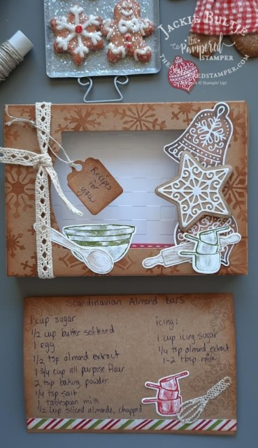 Recipe Box and Recipe card made with kraft paper and Gingerbread & Peppermint Suite