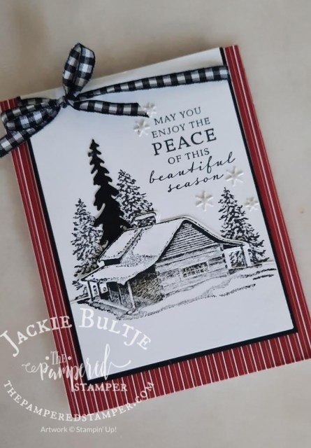 Peaceful Cabin card with black and white gingham ribbon.