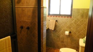 The bathroom was beautifully done with pretty tile, hot and cold water, and good water pressure.