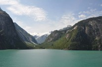 Beautiful mountains, and green water.