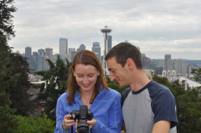On Sunday we drove to some new areas so we could all explore a bit. This was a beautiful park overlooking the water and the city, a perfect photo op. I like this photo of Drew and Elizabeth looking at their own photos.