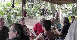 We all hung out at the picnic tables at the backyard bar.