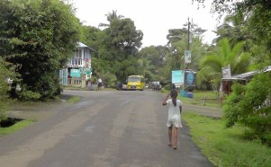 This is the center of town, basically an intersection with a convenience store. This little barefoot girl had just handed off a large baby to another girl before she headed down the road.