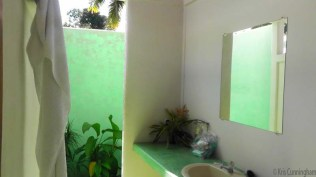 This is something you won't find in most hostels though - an outdoor bathroom! It had a door, walls and a roof, but above and below the wall was open.