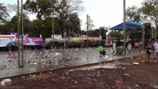 We found the music and dancing area. What a mess! LOL Everything was soaking wet and there were water bottles everywhere!