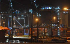 The ship docked next to a very busy container shipping operation that never seemed to stop.