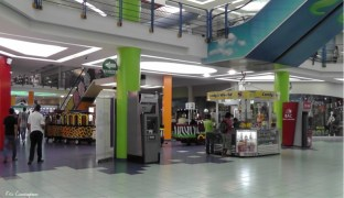 Check out the cool train that takes shoppers around
