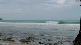 This was close to a resort and surfers were enjoying the waves.