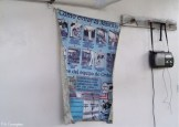 A poster about preventing mastitis was hanging in the milking area