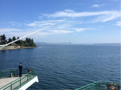 As we leave the dock, Seattle is just visible in the distance.