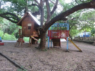 When we pass this playground next to the school, we know we are almost back at the house.