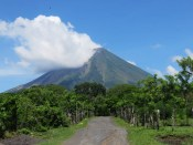 leaving the park, there is a beautiful view of the volcano.