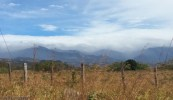 Misty, distant mountains