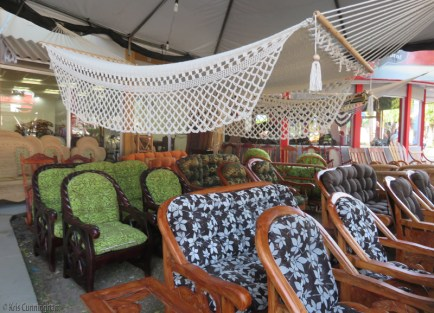 There is plenty of patio furniture to choose from! All has various carvings and designs. Prices ranged from $350-500.