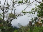 A peek at a mountain through the clouds.