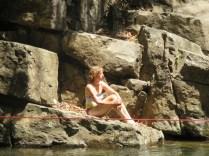 Lauren enjoys a nice spot on a rock