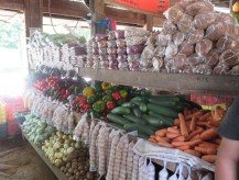 You can see quite a bit of the produce in this photo. On the bottom row past the potatoes and onions are bags of chayote, a small squash type veggies that is one of our favorites. Above, those brown round cakes are raw sugar, and past that are various types of beans. They also sell eggs and corn on the cob (which is a starch, not sweet like we are used to)