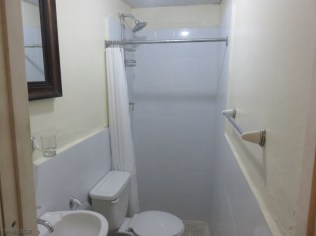 The bathroom is good, and there is piped in hot water (no suicide showers)