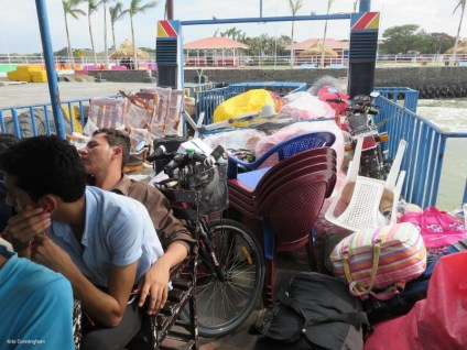 Can you spot my bike in with all the other stuff loaded on the boat?
