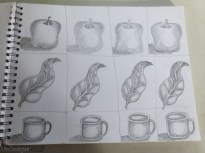 More drawings to copy. I can make a very funny looking apple!