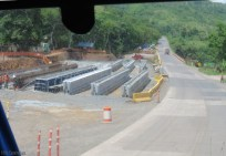 Here they are making the huge concrete beams that will be the supports for the bridge up ahead.