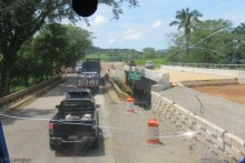 There are many bridges in various stages of construction.