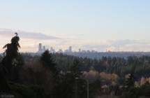 there is a spot on our walk where we can see Seattle and the mountains in the distance