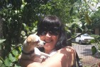 Martine and one of Emma's little dogs