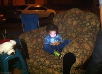 My friend's son plays with her phone
