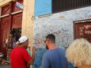 Everyone was signing their names on the walls of this bar