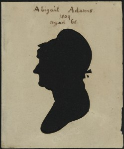 "Raphaelle Peale, ""Abigail Smith Adams."" Hollow-cut silhouette, white paper on modern black paper. Courtesy National Portrait Gallery, Smithsonian Institution."