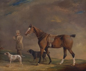 Edwin W. Cooper of Beccles, A Sportsman with Shooting Pony and Gun Dogs (1815), via Wikimedia Commons.