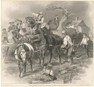 News from Lexington—Putnam leaving the plough. Courtesy of the New York Public Library Digital Collections.