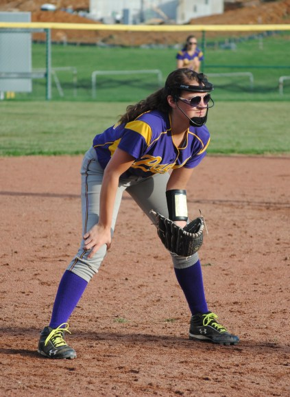 Sophomore Claire Cornwell guards third base.