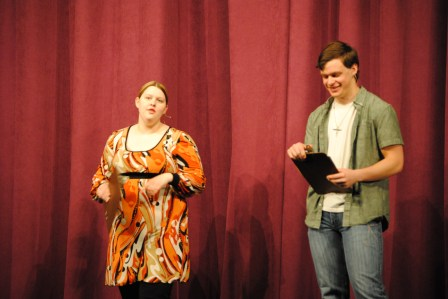 Seniors Melody Pinnick and Daniel Hutcheson announced people to the stage.