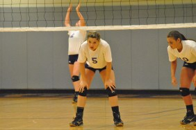 Freshman Keaton Chastain catching her breath after a long set. Chastain started for the rams last Tuesday in the match against Christian Academy. ¨The freshman are always working hard and consistently giving it all they can,¨ said junior Claire Cornwell.