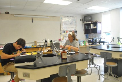 Mrs. Higgins a teacher at PHS is doing a lab with her only student in AP Chemistry this year. ¨We were doing a lab where we find hydrogen H2 in water H20,¨ said Higgins.