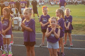 Girls cheer during the cheer clinic.