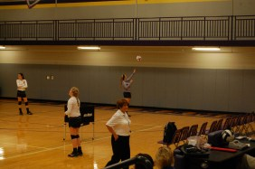 Paoli Varsity Volleyball team gets ready to take on the Mitchell Jackets at the home game. Students on the Paoli Volleyball team practiced many hours during the week, ¨Every game we are progressing well and working well as a team and I think we are going to do well this year,¨ says senior Paoli Volleyball player Jaylin Busick.