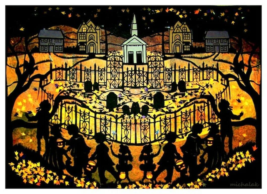 halloween village darkened2