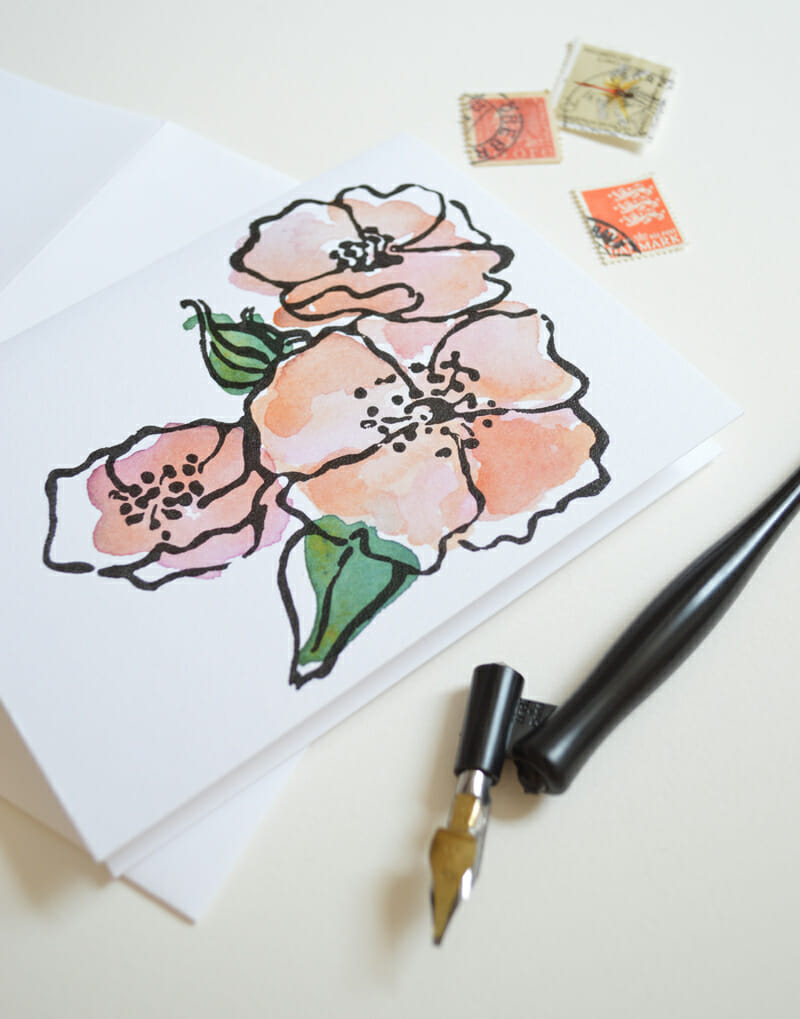garden rose stationery_courtney khail watercolors