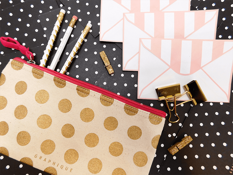 Pencil Case Gold Dots copy